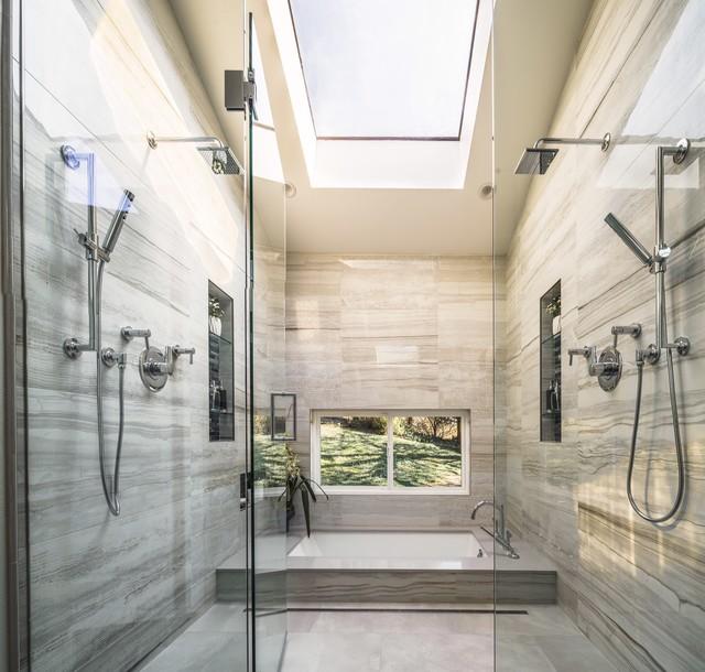 Woodlands master bath spa retreat contemporary for Spa retreat bathroom ideas