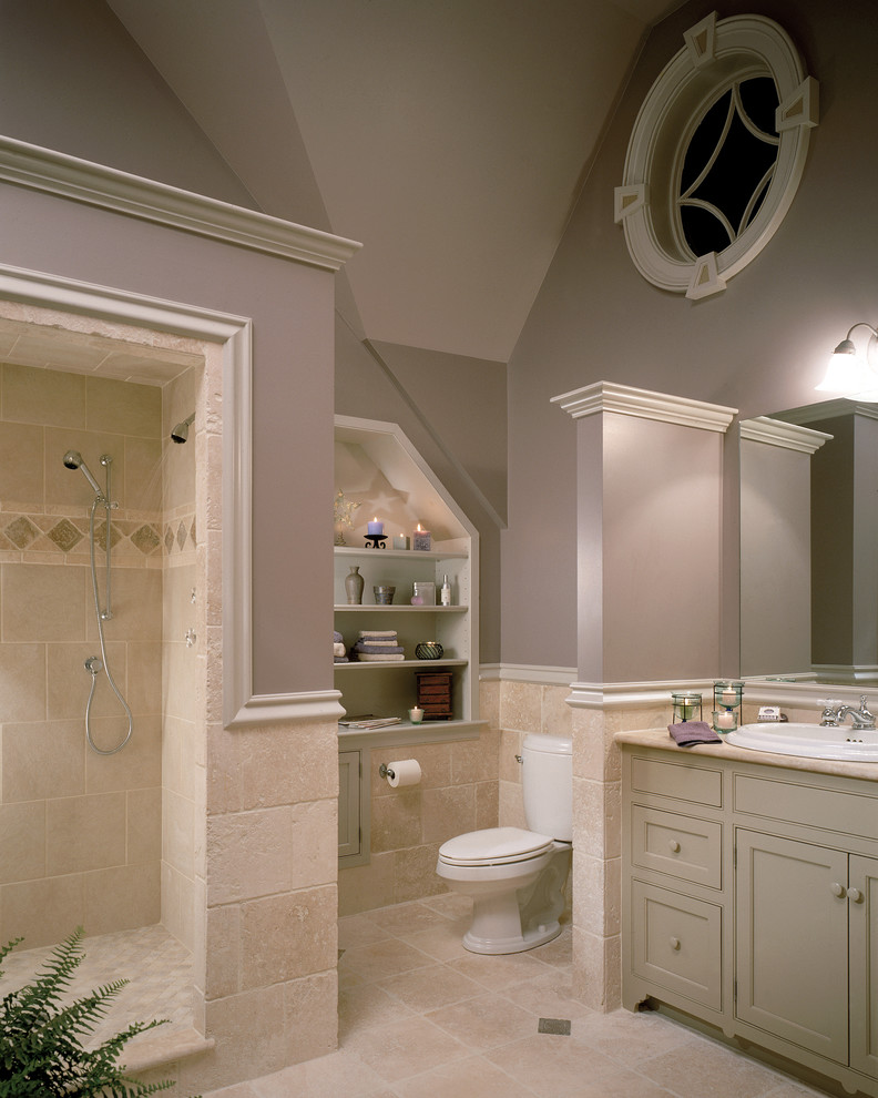Example of a classic stone tile bathroom design in New York