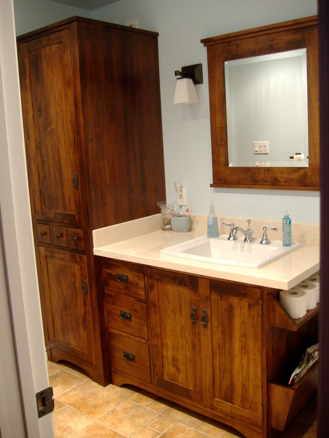 Wormy Maple Rustic Vanity And Linen Tower Rustic Bathroom