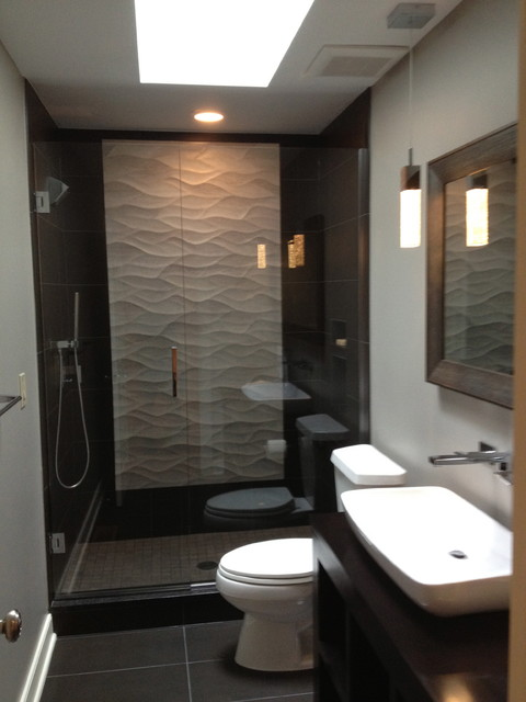 Alcove shower - modern multicolored tile alcove shower idea in Columbus with a vessel sink,