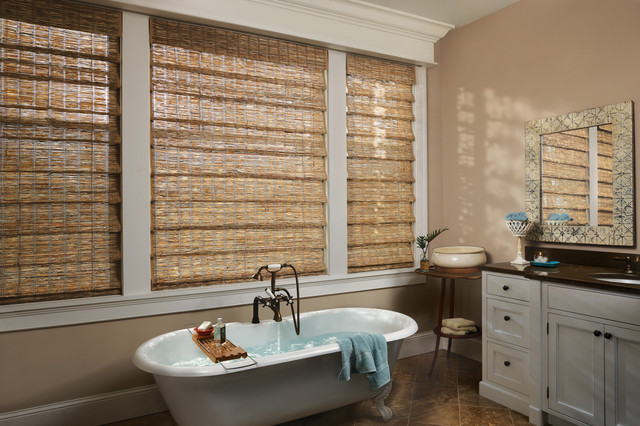 Woven Wood Shades Traditional Bathroom