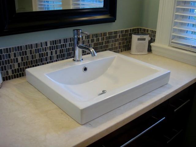 Xyuim White Semi Recessed Sink Set In Honed Travertine Tops
