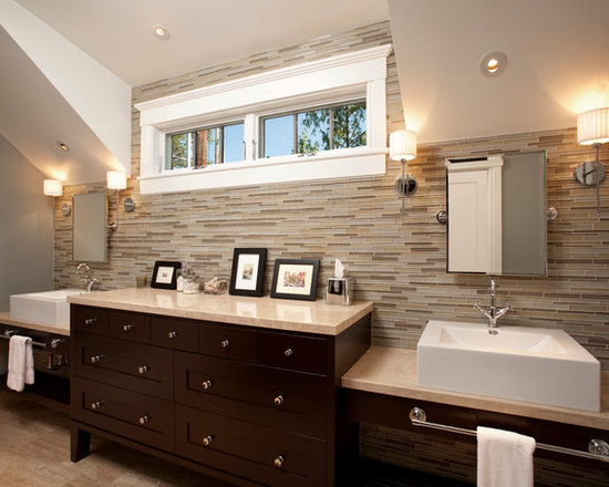 Mid-Sized Grey With Wood Trim Bath Design Ideas, Pictures, Remodel ...