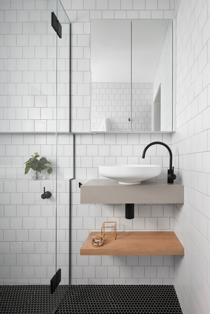 Yarraville home how to maximise space in a small ensuite scandinavian bathroom melbourne Small bathroom design melbourne