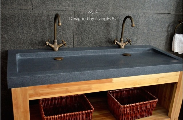 "Bathroom Tiles Yate yate 47""x19"" double trough trendy gray granite bathroom vessel"