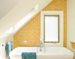Yellow and Turquoise Bathroom beach-style-bathroom