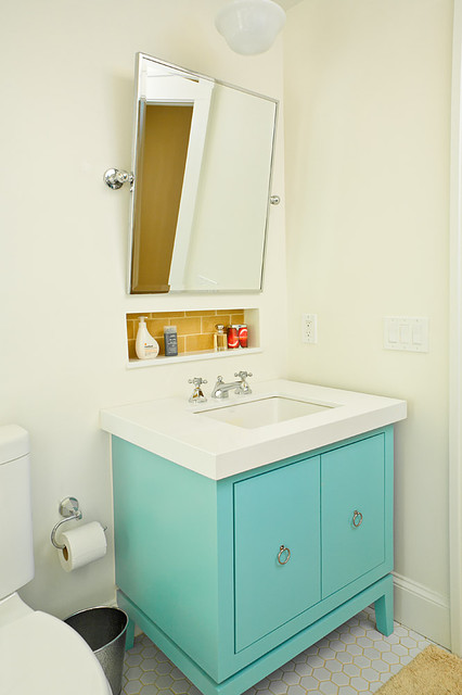 Yellow and turquoise bathroom for Bathroom remodel 10k