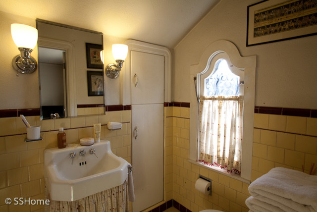 Yellow bathroom 1930 39 s spanish style home of designer for Bathroom ideas 1920s home