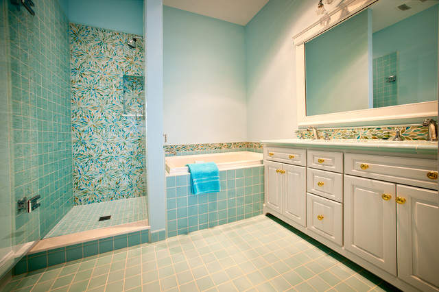 Large Eclectic Master Blue Tile And Gl Ceramic Floor Bathroom Photo In