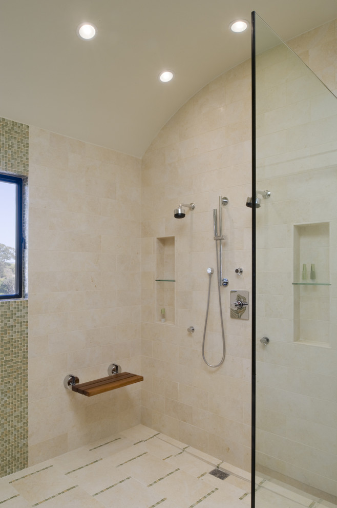 Trendy mosaic tile bathroom photo in San Francisco with a niche