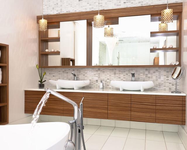 Zebrano vanity contemporain salle de bain montr al for Meuble zebrano