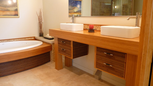 Zen bath and vanity asian bathroom new york by ken kohles design