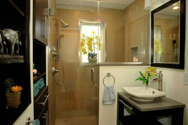 Zen Bathroom With Integrated Cabinetry Modern Bathroom