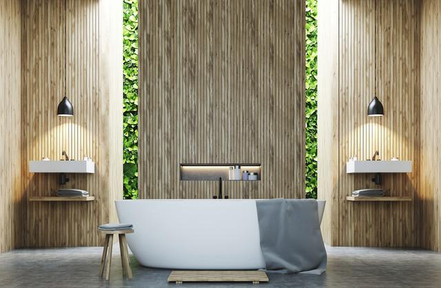 Zen Bathroom With Living Green Wall