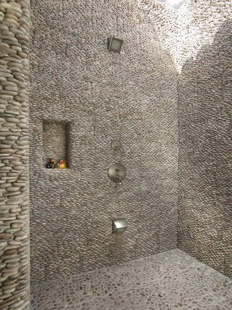 Zen Paradise Standing Pebble Tile Installations Contemporary bathroom