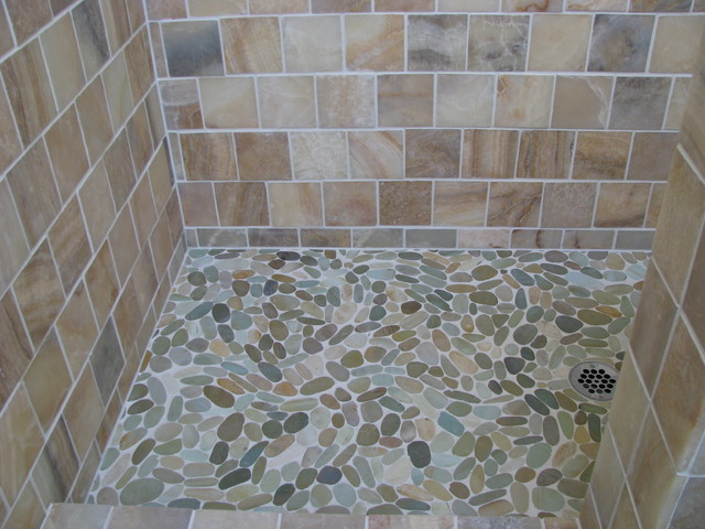 Zen Paradise Tumbled Style Tiles Installations traditional-bathroom