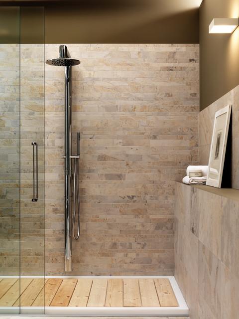 Natural bathroom decor - Zen Shower Amp Wainscott Craftsman Bathroom Los