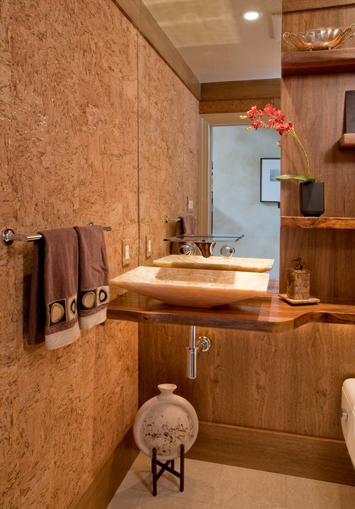 Cork wall covering for Bathroom designs cork