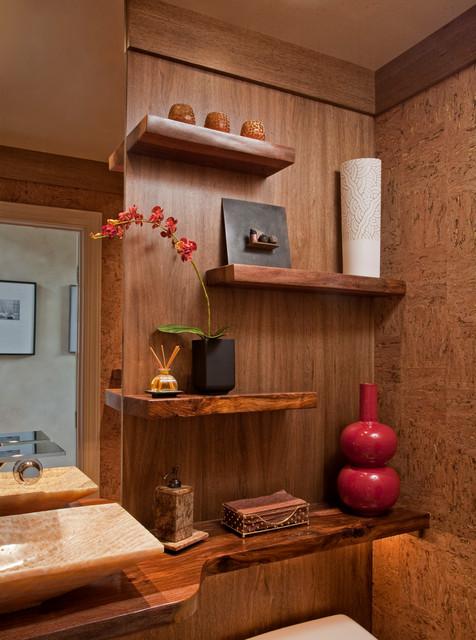 Zen spa powder room remodel media pa contemporary for Zen spa bathroom designs