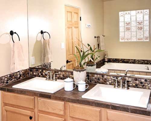 Shapes of tiles include options like traditional subway tiles (3″x6″), hexagonal and even circular.