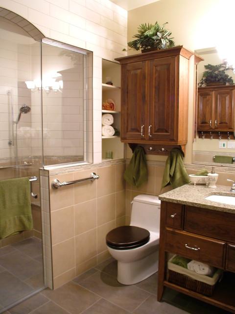 Zero threshold bathroom reno traditional bathroom for Bathroom decor calgary