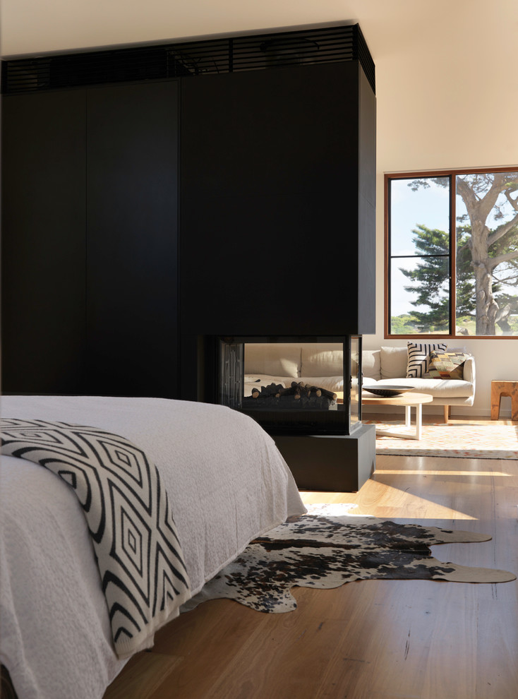 Photo of a mid-sized contemporary master bedroom in Melbourne with white walls, medium hardwood floors and a two-sided fireplace.