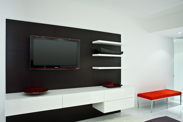 Residence - Lcd wall unit designs bedroom