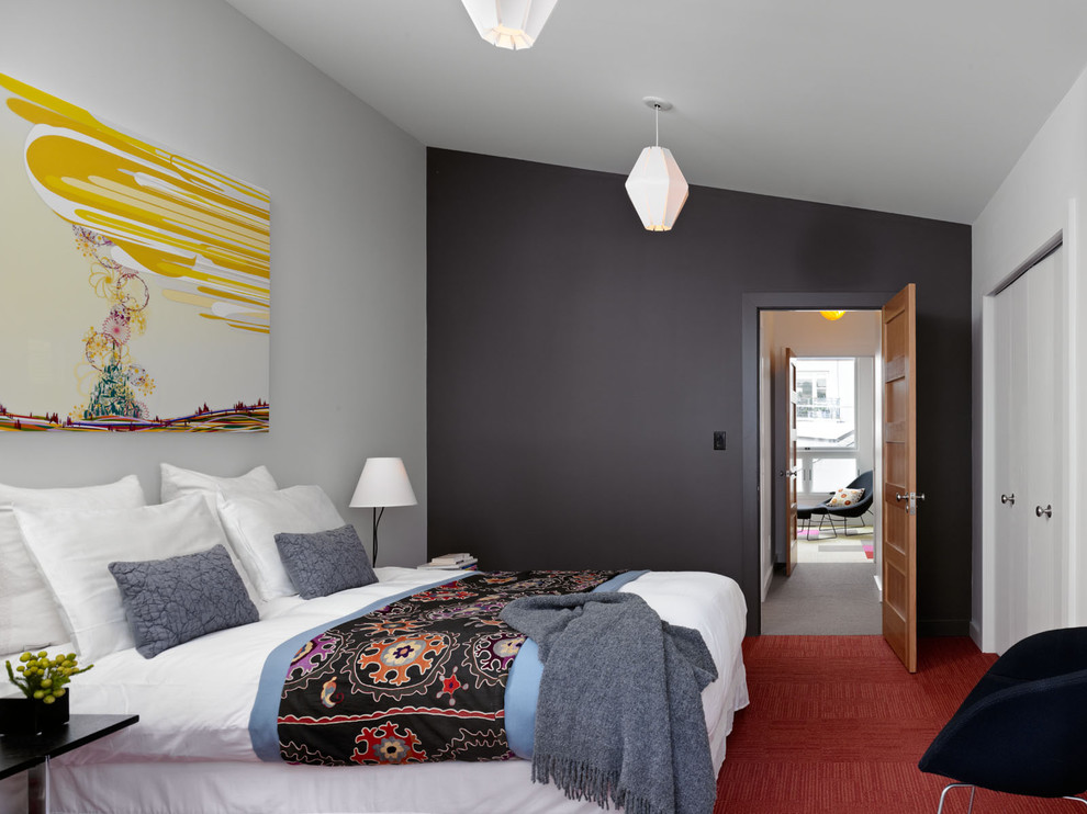 Bedroom - mid-sized contemporary master carpeted and red floor bedroom idea in San Francisco with black walls and no fireplace
