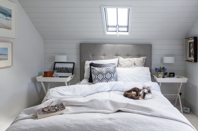 Coastal carpeted bedroom photo in Kent with white walls. Bedroom Ventilation   Houzz