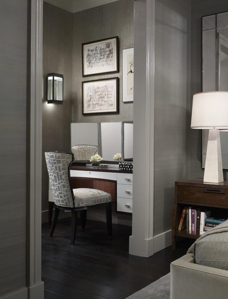 Bedroom - transitional dark wood floor bedroom idea in Chicago with gray walls