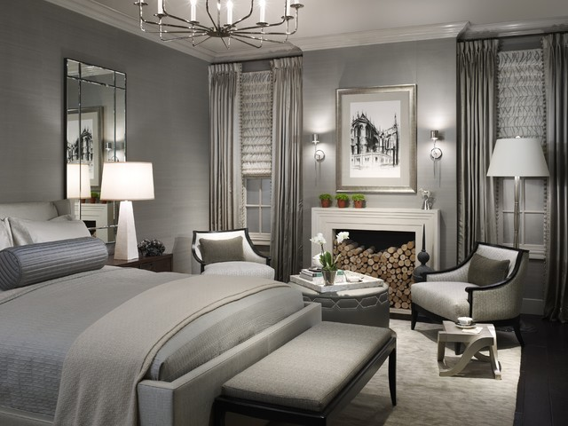 inspiration for a transitional bedroom remodel in chicago with gray walls and a standard fireplace - High End Master Bedroom Furniture