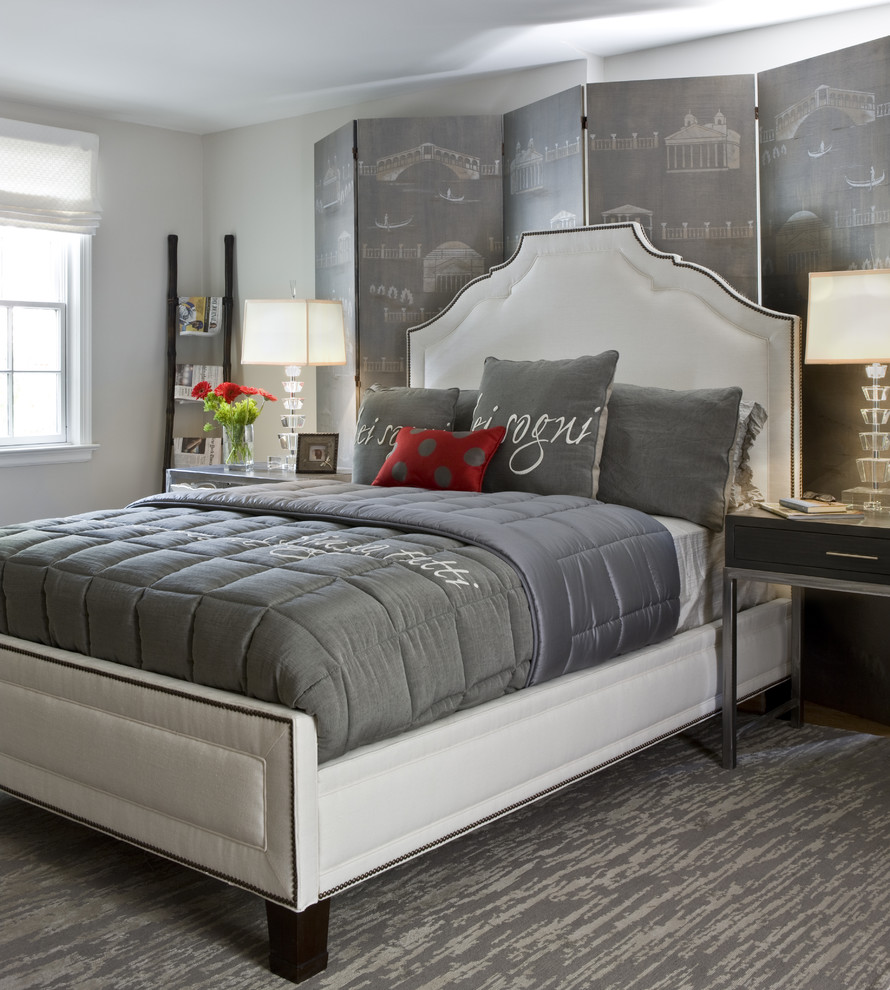 Inspiration for a mid-sized contemporary master carpeted and gray floor bedroom remodel in DC Metro with gray walls and no fireplace