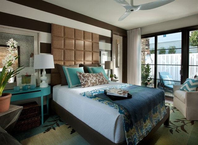 inspiration for a mid sized transitional master dark wood floor and brown floor bedroom remodel - Blue Brown Bedroom Pictures