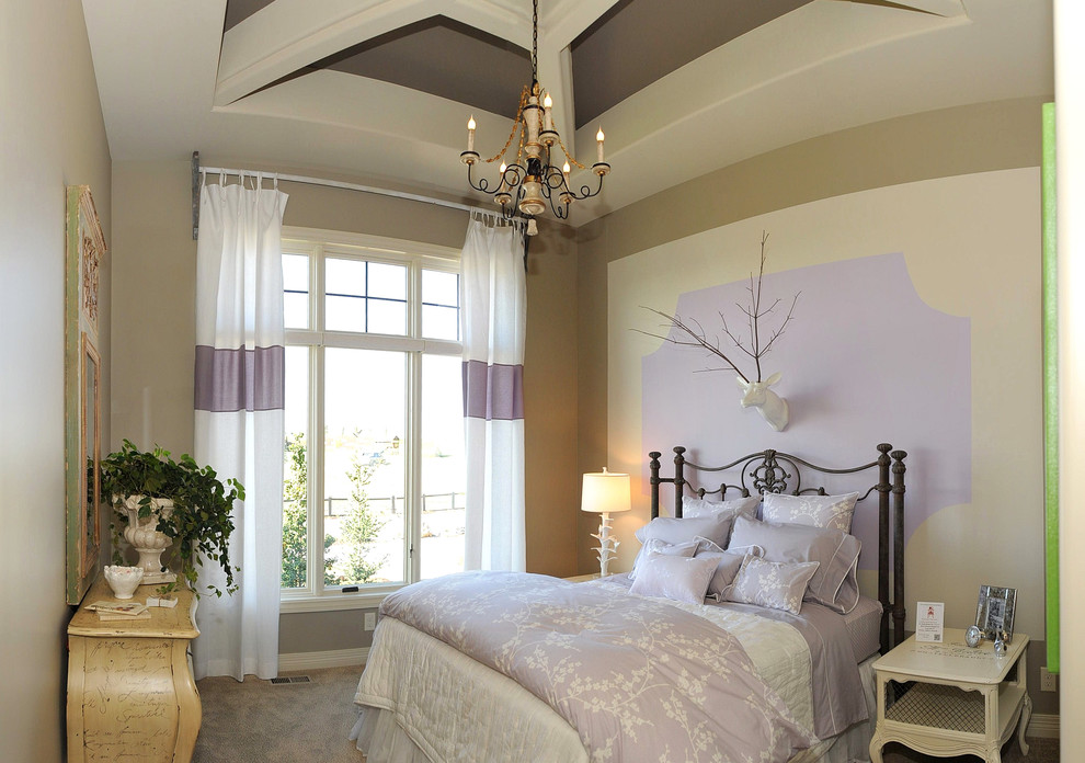 Example of a mid-sized classic guest carpeted and beige floor bedroom design in Omaha with multicolored walls