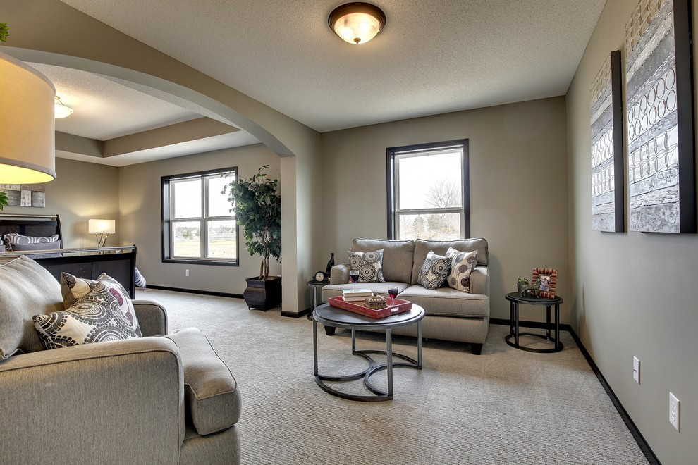 Example of a large classic master carpeted and gray floor bedroom design in Minneapolis with gray walls