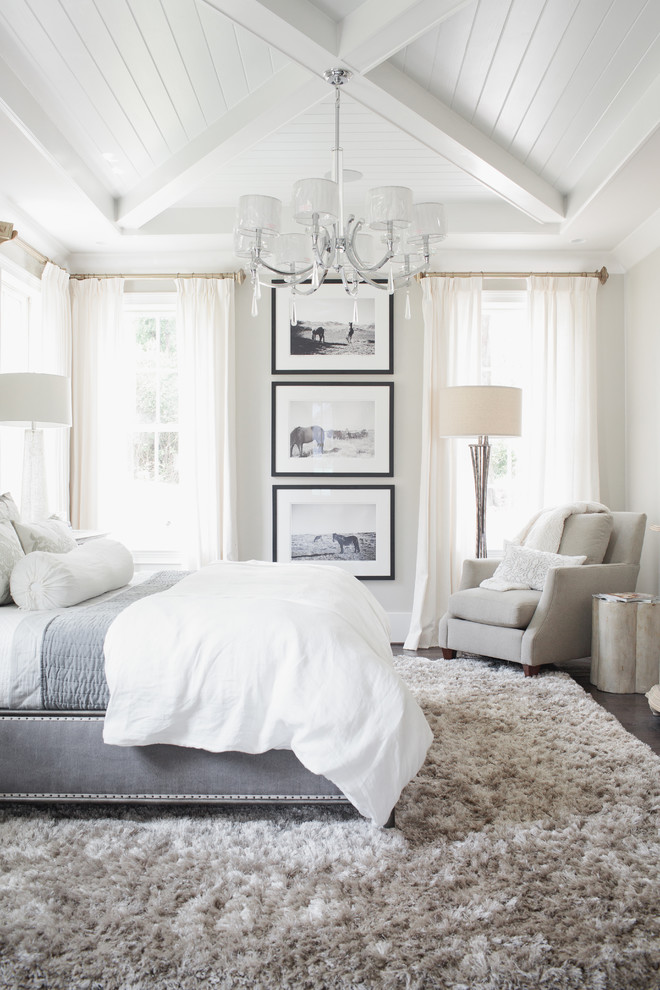 Example of a transitional bedroom design in Birmingham with gray walls