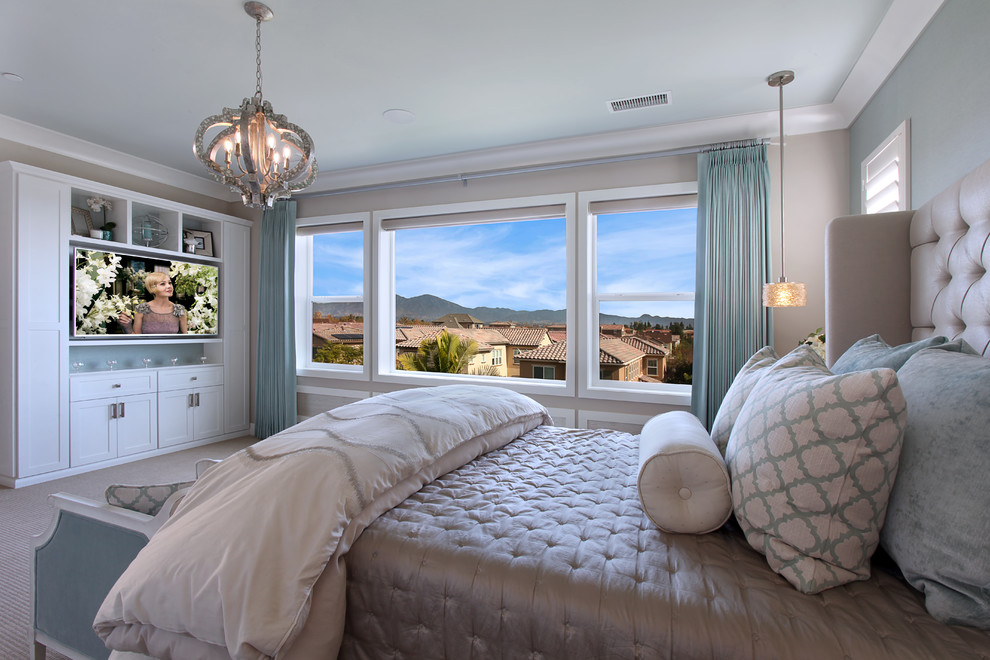 Photo of a transitional bedroom in Orange County.