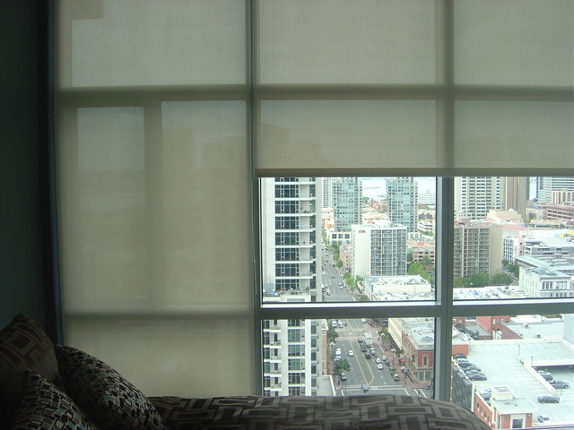 3 Screen Motorized Roller Shades Open Closed View