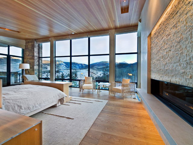 Trendy Medium Tone Wood Floor Bedroom Photo In Denver With A Ribbon  Fireplace And A Stone