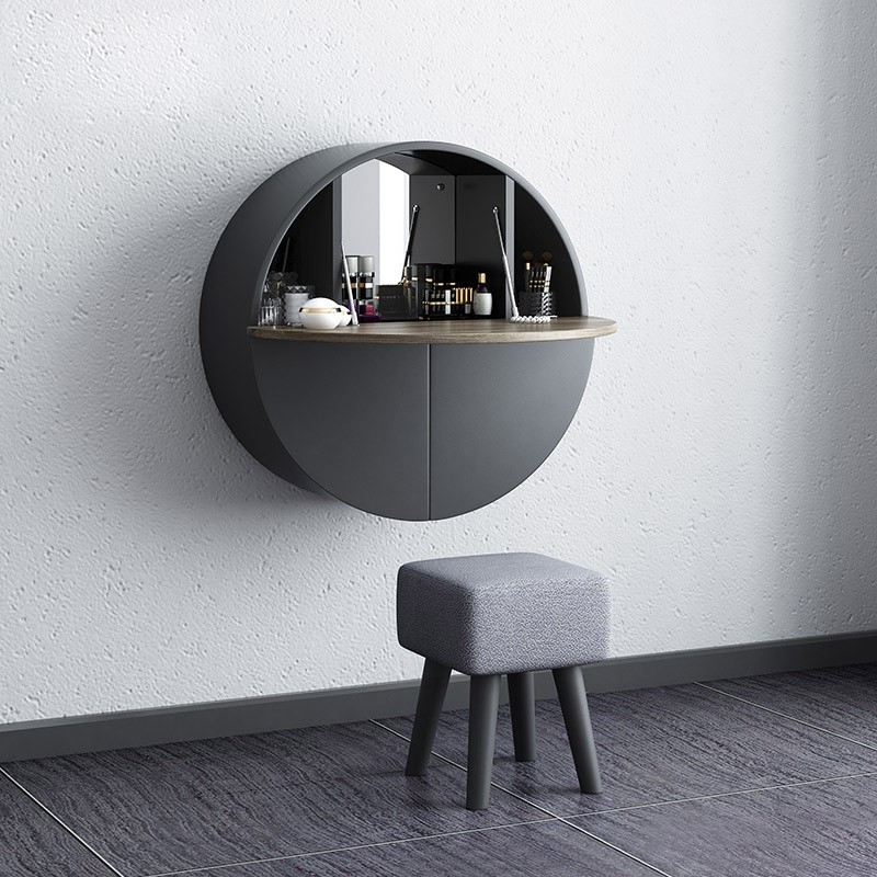 399 99 Modern Round Wall Mount Makeup Vanity Table Set With Mirror Gray Makeup Modern Bedroom Other By Homary Limited