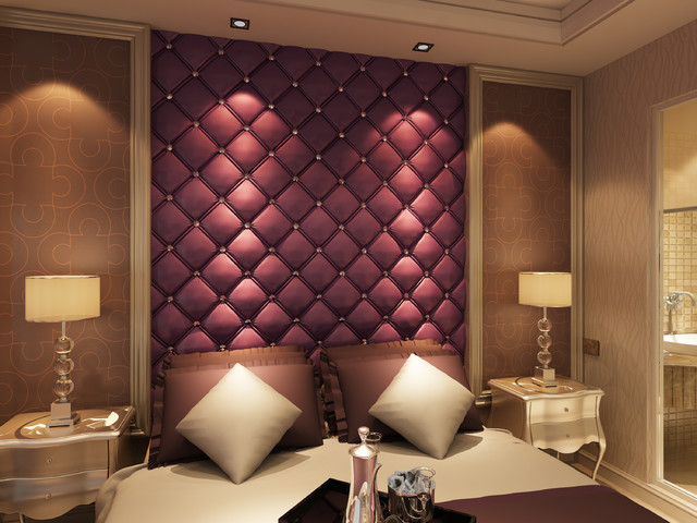 3D Leather Tiles Bedhead For Bedroom Design Modern Bedroom
