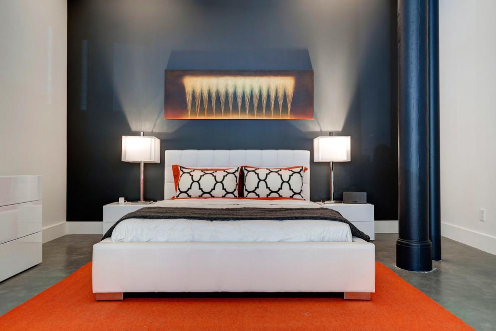 Bedroom - contemporary concrete floor bedroom idea in Montreal