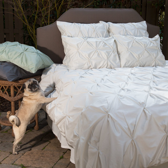 400 Thread Count Off White Pintuck Duvet Cover, The Valencia Natural  Traditional Bedroom