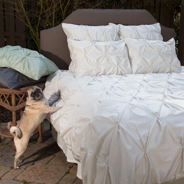 56224a25eeda 400 Thread Count Off-White Pintuck Duvet Cover, The Valencia  NaturalTraditional Bedroom, San Francisco