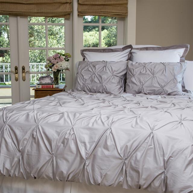 400 Thread Count Pintuck Duvet Cover The Valencia Dove Warm Gray Contemporary Bedroom