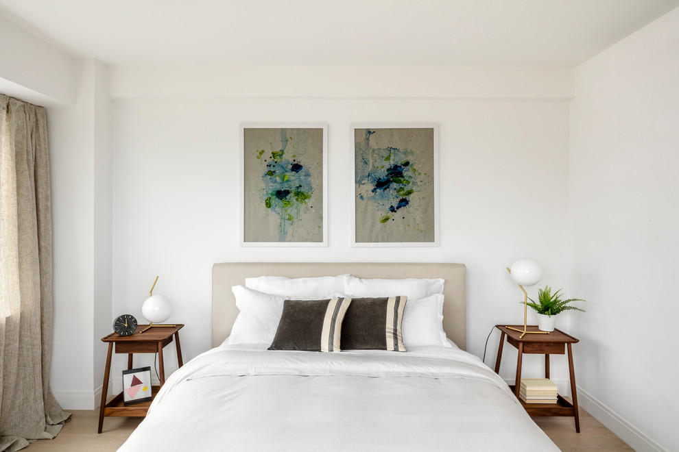 Inspiration for a scandinavian bedroom remodel in New York