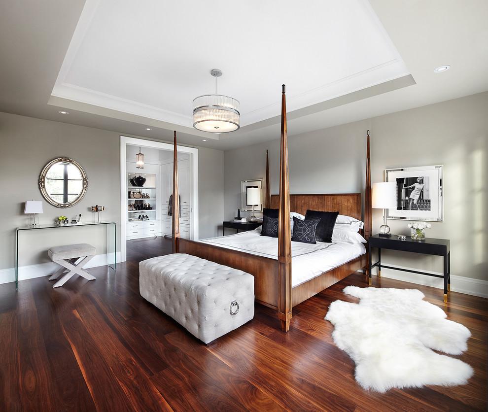 Bedroom - transitional dark wood floor bedroom idea in Dallas with gray walls