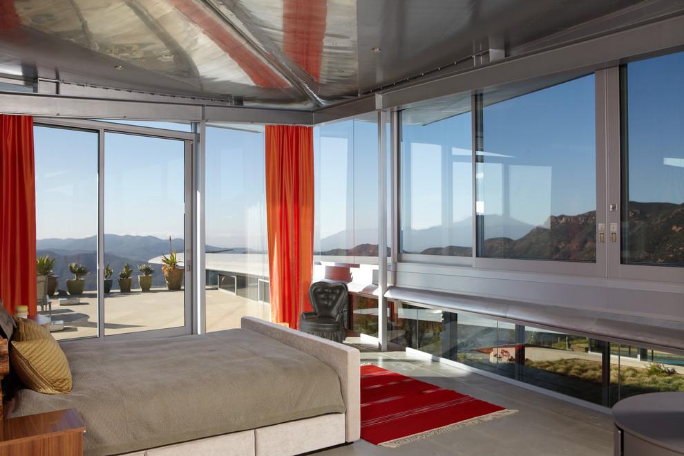 Trendy concrete floor bedroom photo in Los Angeles