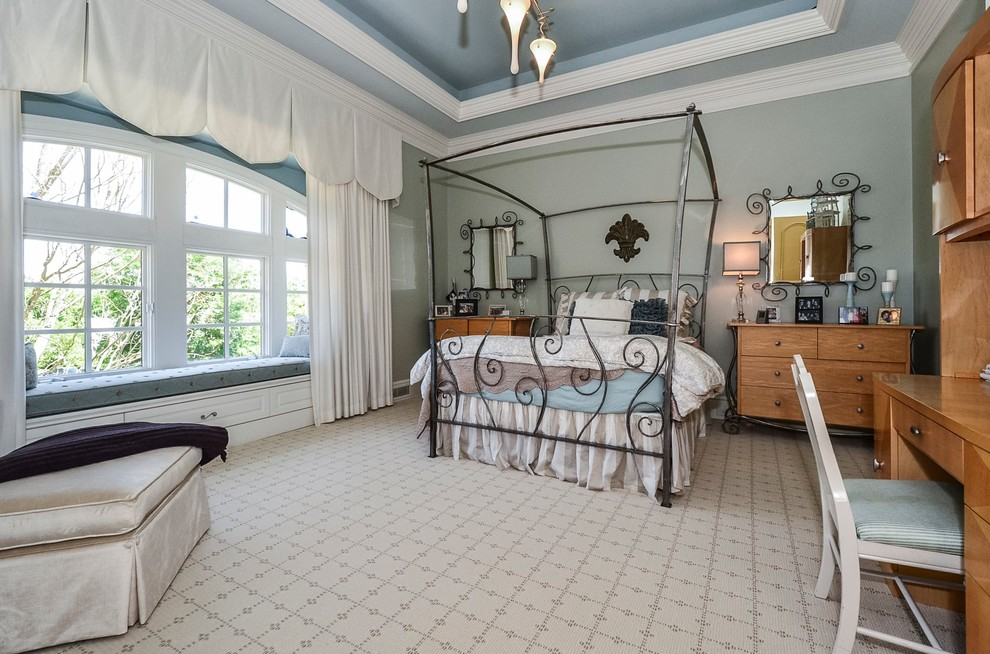 Bedroom - traditional carpeted bedroom idea in Charlotte with gray walls