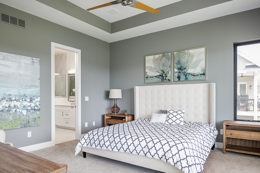 Bedroom - transitional master carpeted and gray floor bedroom idea in Other with gray walls and no fireplace
